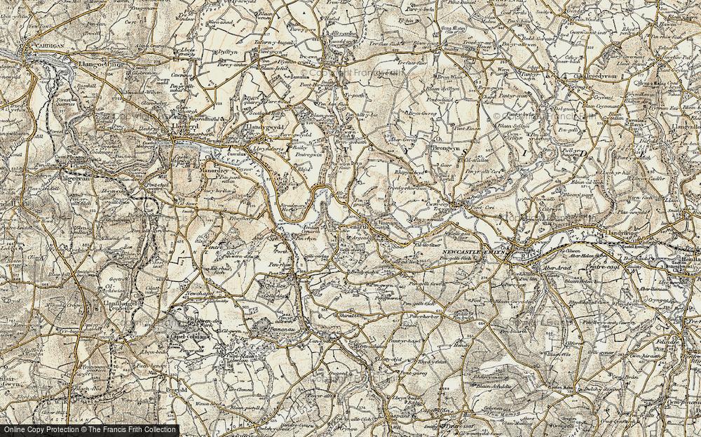 Old Map of Cenarth, 1901 in 1901