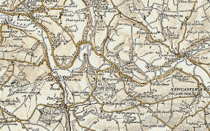 Old map of Cenarth in 1901