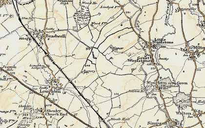 Old map of Central Milton Keynes in 1898-1901