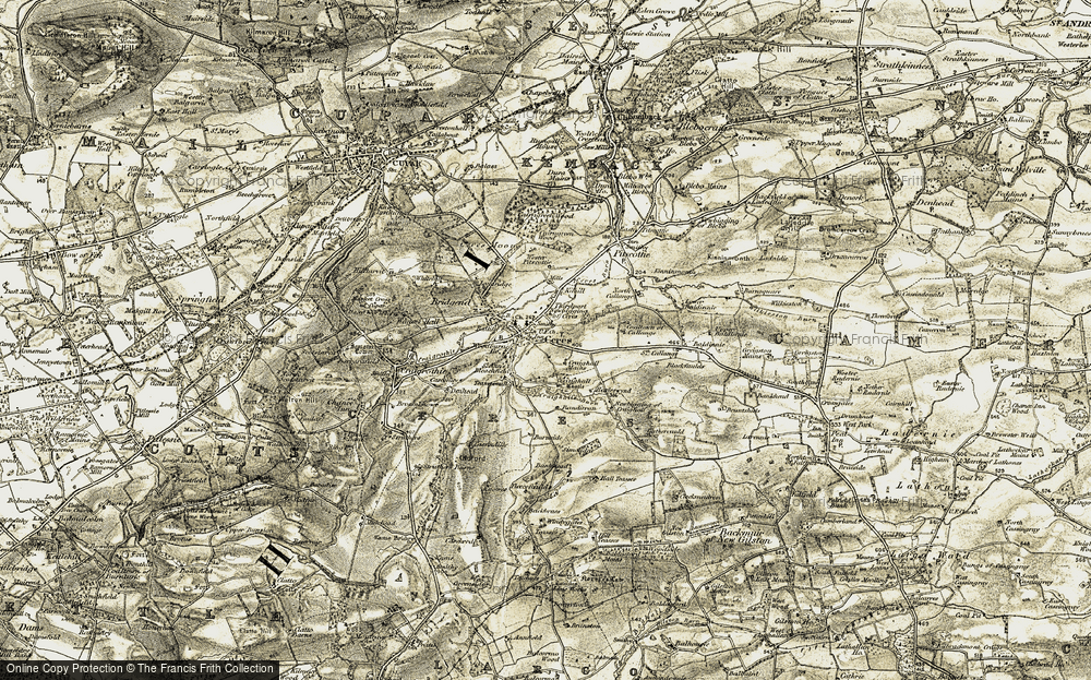 Old Map of Historic Map covering Bankhead in 1906-1908