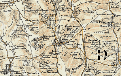 Old map of Yelcombe Bottom in 1899