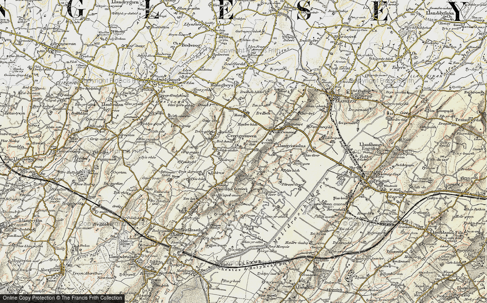 Old Map of Historic Map covering Afon Gwna in 1903-1910