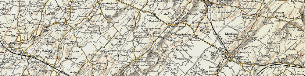 Old map of Afon Gwna in 1903-1910