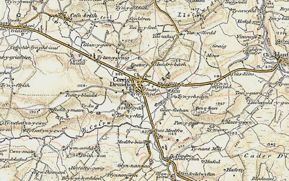 Old map of Cerrigydrudion in 1902-1903