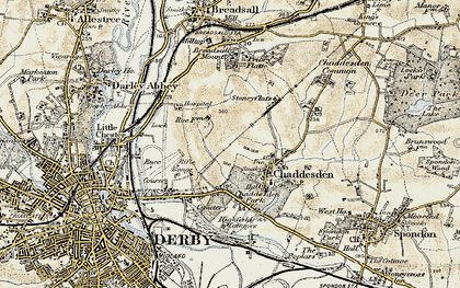 Old map of Chaddesden in 1902-1903