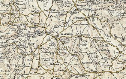 Old map of Chagford in 1899-1900