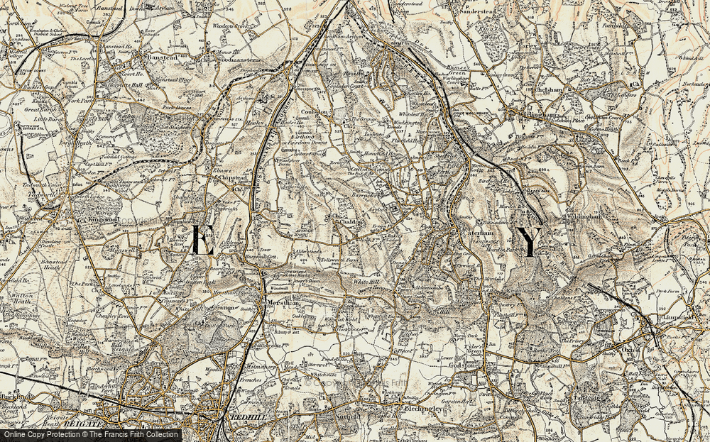 Old Map of Historic Map covering Alderstead Heath in 1897-1902