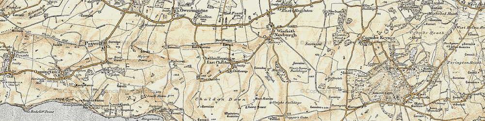 Old map of Winfrith Hill in 1899-1909
