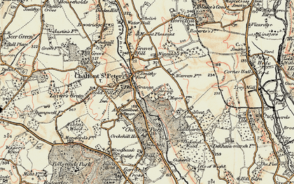 Old map of Chalfont St Peter in 1897-1898