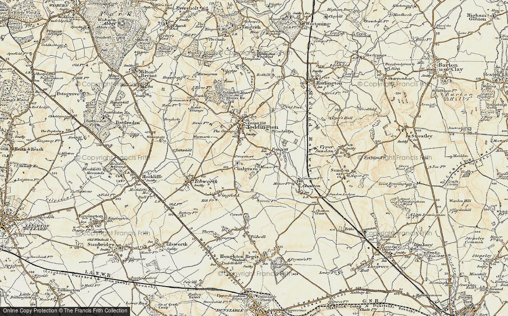 Old Map of Historic Map covering Toddington Service Area in 1898-1899
