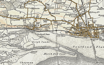 Old map of Leigh Sand in 1897-1898