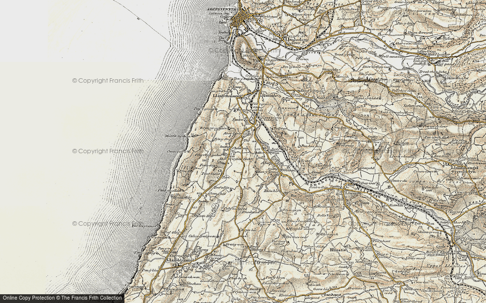Old Map of Historic Map covering Abermad in 1901-1903