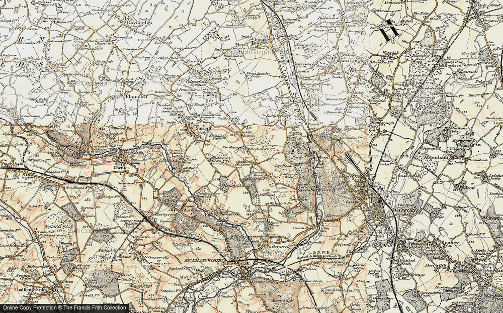 Old Map of Historic Map covering Lees Wood in 1897-1898