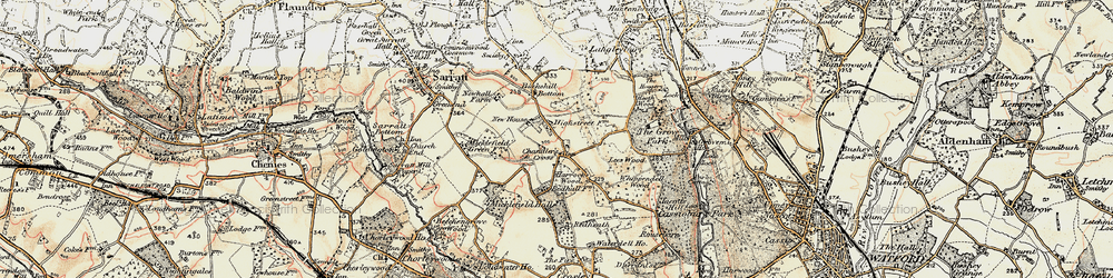 Old map of Whippendell Wood in 1897-1898