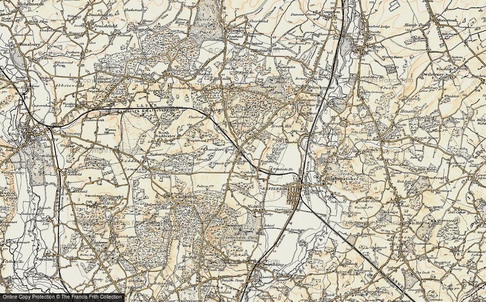 Old Map of Chandler's Ford, 1897-1909 in 1897-1909