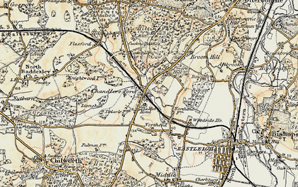 Old map of Chandler's Ford in 1897-1909