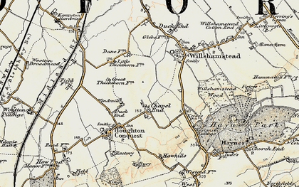 Old map of Chapel End in 1898-1901