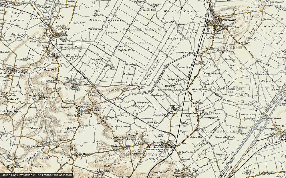 Old Map of Historic Map covering Tick Fen in 1901