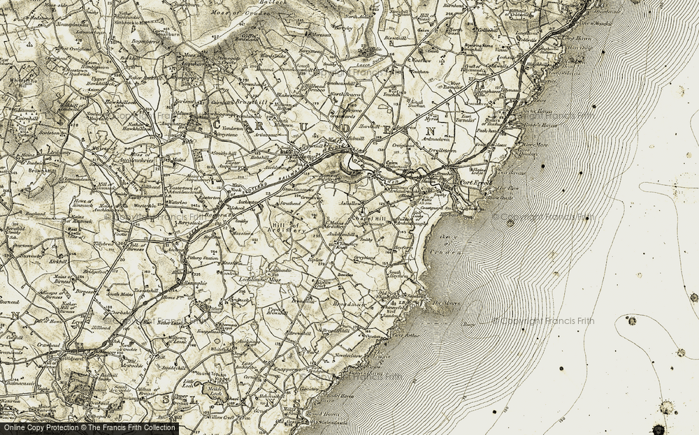 Old Map of Historic Map covering Aulton of Ardendraught in 1909-1910