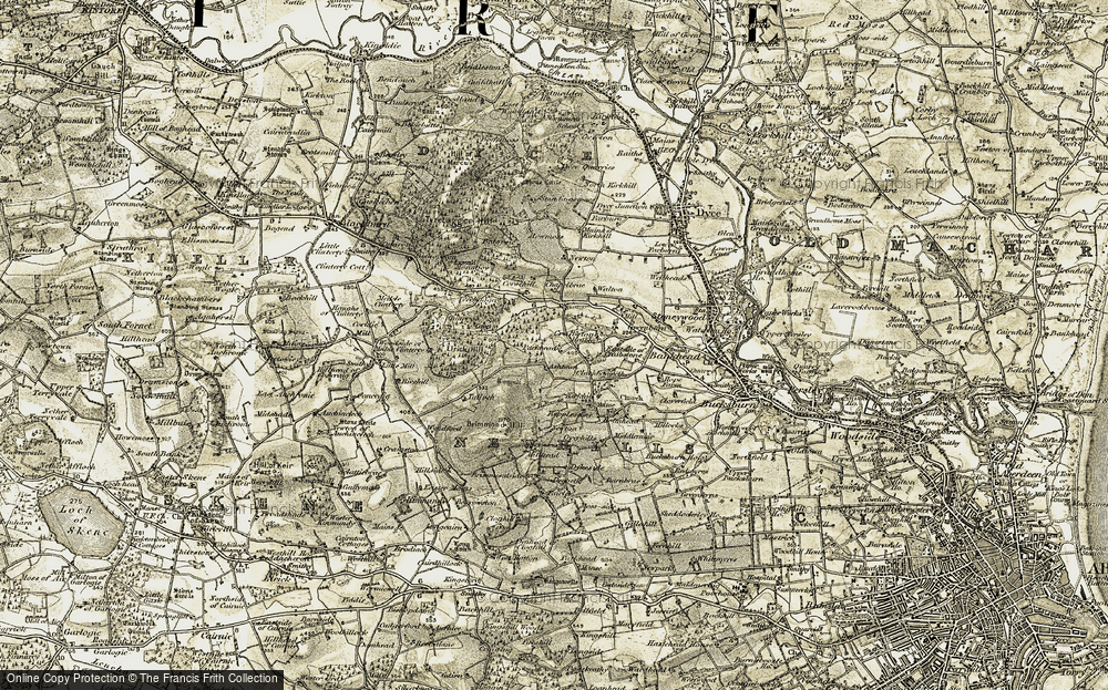 Old Map of Historic Map covering Ashtown in 1909