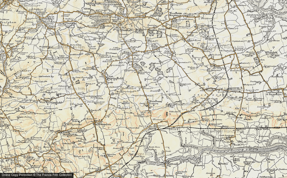 Old Map of Historic Map covering Woodham Lodge in 1898