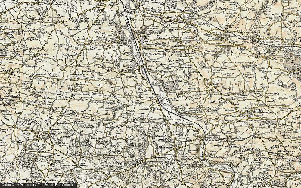 Old Map of Historic Map covering Woolstone in 1900