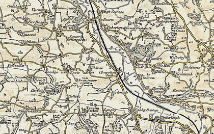 Old map of Woolstone in 1900