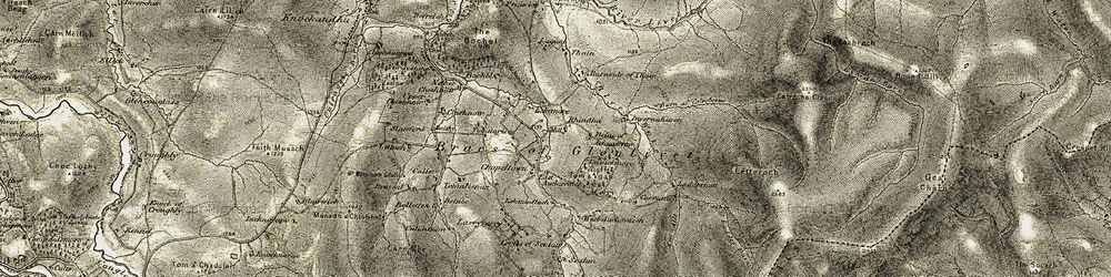 Old map of Achnascraw in 1908-1911