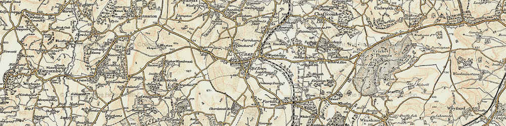 Old map of Chard in 1898-1899