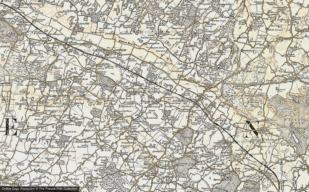 Old Map of Historic Map covering Tile Lodge in 1897-1898