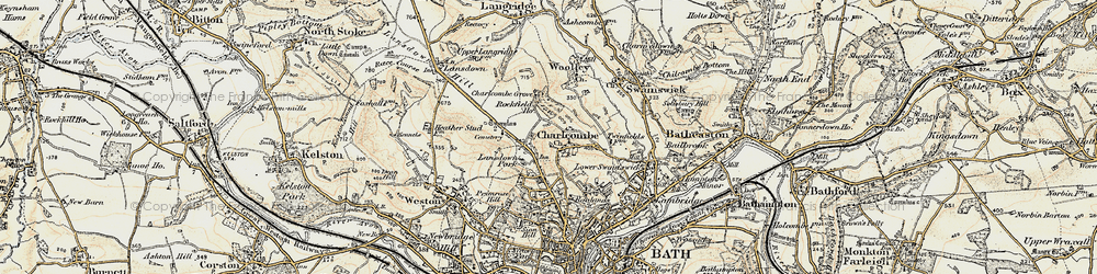 Old map of Charlcombe in 1899