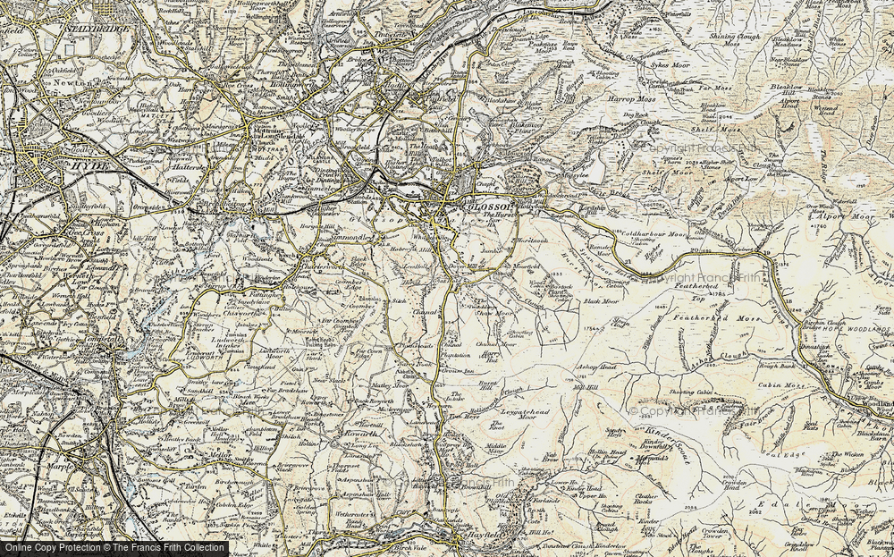 Old Map of Historic Map covering Whiteley Nab in 1903