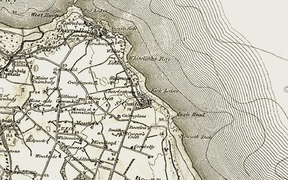 Old map of Whitecairns in 1909-1910