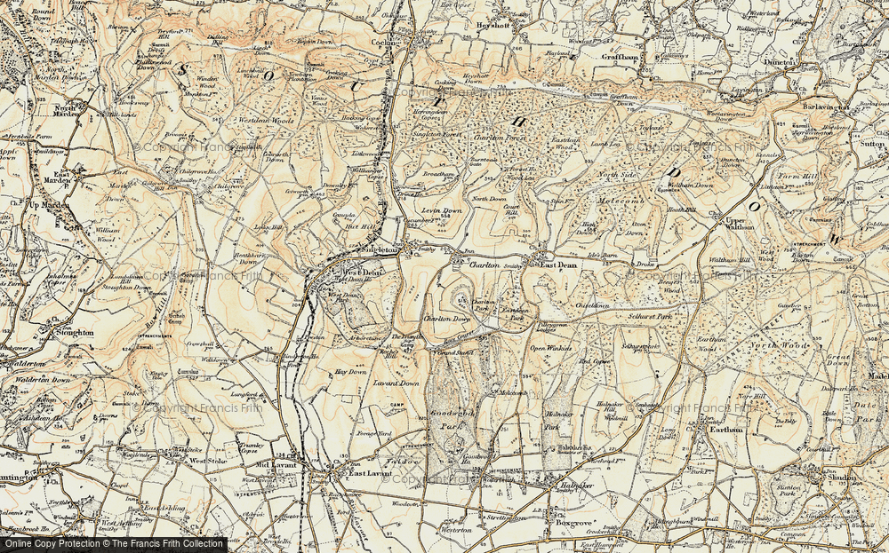 Old Map of Historic Map covering Levin Down in 1897-1899