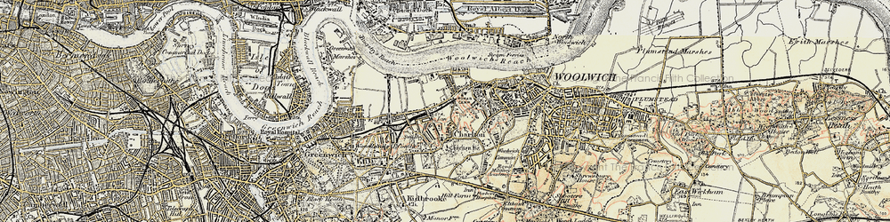 Old map of Woolwich Common in 1897-1902