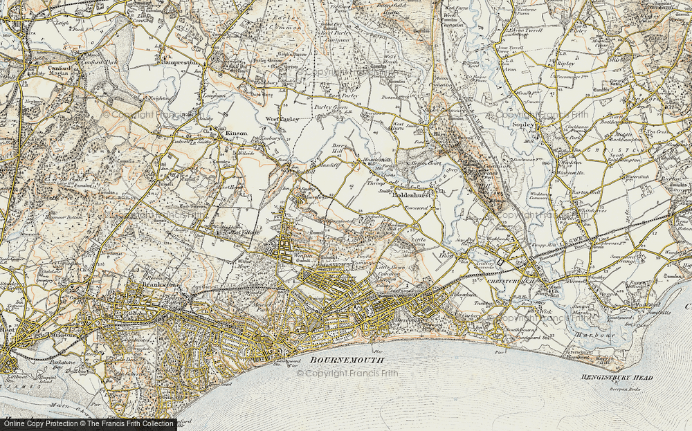 Old Map of Historic Map covering Bournemouth in 1897-1909
