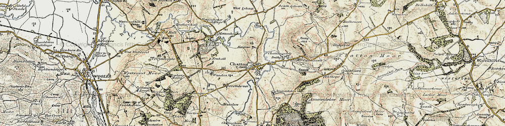 Old map of Chatton in 1901-1903