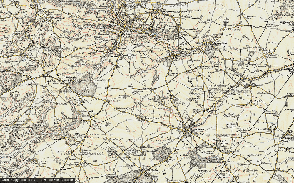Old Map of Historic Map covering Ledgemore Bottom in 1898-1900