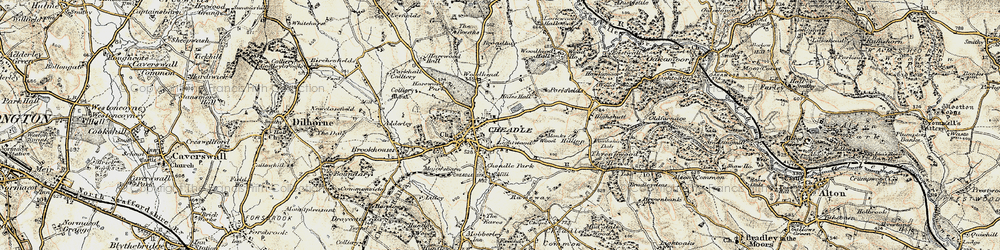 Old map of Cheadle in 1902
