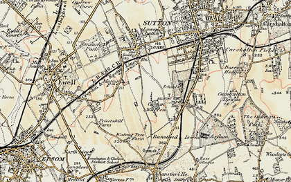 Old map of Cheam in 1897-1909