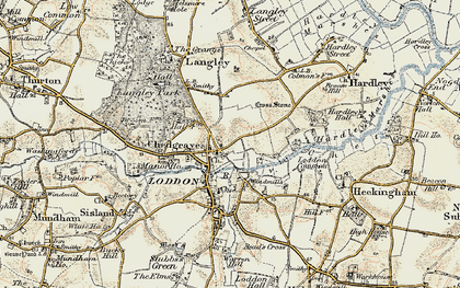 Old map of Chedgrave in 1901-1902