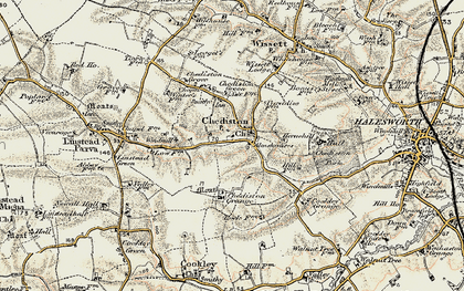 Old map of Linstead Parva in 1901-1902