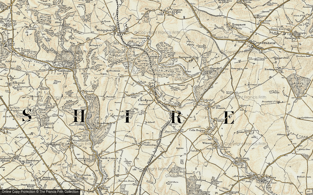Old Map of Chedworth, 1898-1899 in 1898-1899