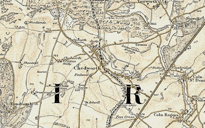Old map of Chedworth in 1898-1899