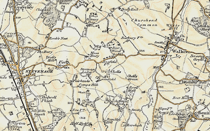 Old map of Chells in 1898-1899