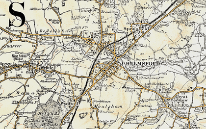 Old map of Chelmsford in 1898