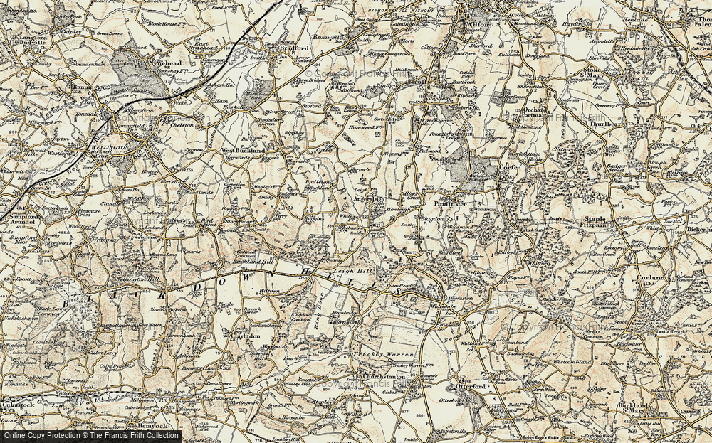 Old Map of Historic Map covering Leigh Hill in 1898-1900