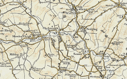 Old map of Chelsworth in 1899-1901