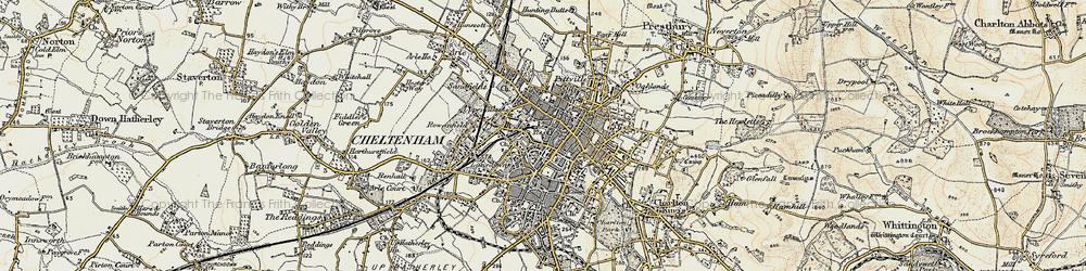 Old map of Cheltenham in 1898-1900