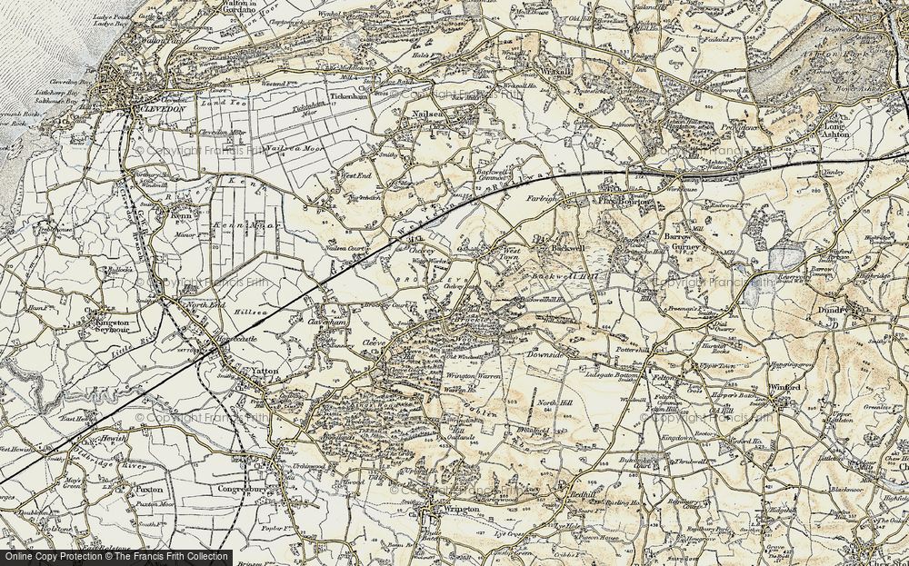 Old Map of Historic Map covering Backwell Hill Ho in 1899